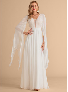A-Line V-neck Floor-Length Chiffon Wedding Dress With Lace