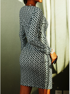 Print Bodycon Long Sleeves Midi Casual Pencil Dresses