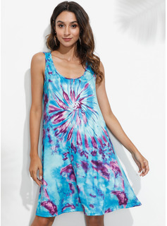 Over Knee Strap Polyester Print Uden Ærmer Mode kjoler