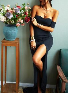 固体 シースドレス 半袖 マキシ リトルブラックドレス パーティー セクシー ファッションドレス