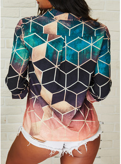 Geometrisk lapel Långa ärmar Fritids Skjorta Blusar