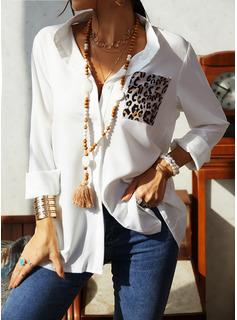 Leopard Lapel Lange ærmer Button-up Casual Shirt Skjorter