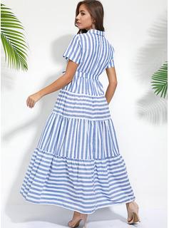 Stribe Kjole med A-linje Korte ærmer Maxi Casual Ferie Skjorte Mode kjoler