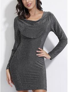 Solid Bodycon Lange ærmer Mini Party Mode kjoler