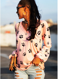 Animal Print V-Neck Long Sleeves Casual T-shirt