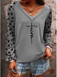 Figur Print V-hals Lange ærmer Casual T-shirt