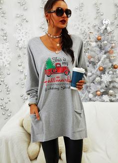 Print Figur V-hals Lange ærmer Jule sweatshirt