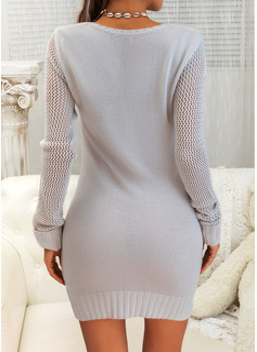 固体 ケーブル編み 長袖 カジュアル セータードレス ファッションドレス