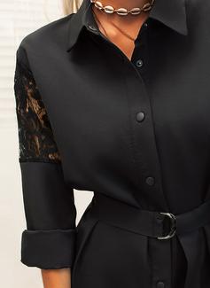 Spitze Einfarbig Etui Lange Ärmel Mini Kleine Schwarze Lässige Kleidung Hemdkleider Modekleider
