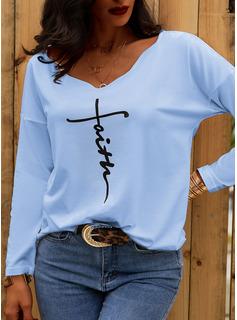 Figura Stampa Scollatura a V Maniche lunghe Casuale Camicie