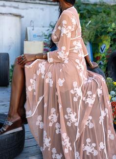 Fleurie Imprimé Robe trapèze Manches 3/4 Maxi Élégante Patineur Robes tendance