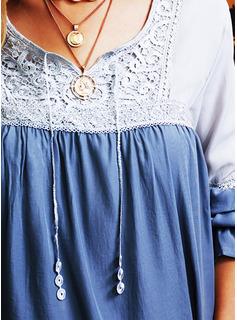 Color Block Blonder V-hals Lange ærmer Casual Skjorter