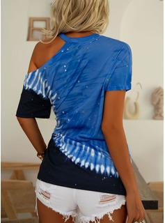 Tie Dye One Shoulder Short Sleeves Casual Blouses