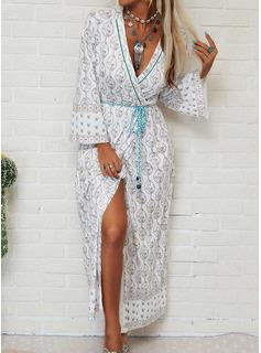 Print Kjole med A-linje Lange ærmer Maxi Boho Casual Ferie skater Mode kjoler