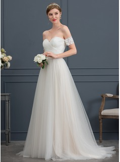 A-Line Sweetheart Sweep Train Tulle Wedding Dress With Bow(s)