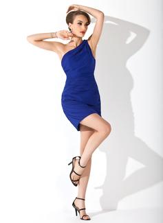 Sheath/Column One-Shoulder Short/Mini Chiffon Cocktail Dress With Ruffle