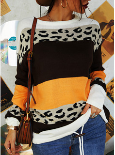 Round Neck Casual Leopard Color Block Striped Sweaters