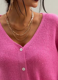 Vネック カジュアル 固体 リブ編みの セーター