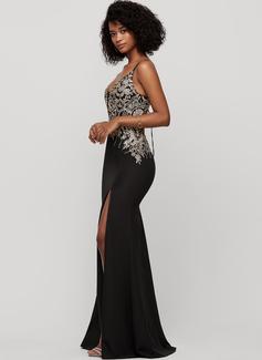 Trumpet/Mermaid V-neck Floor-Length Stretch Crepe Prom Dresses With Split Front