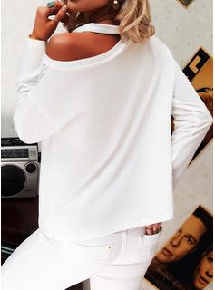 Figure Print One Shoulder Long Sleeves Casual Blouses
