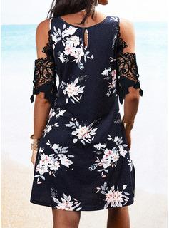 Floral Impresión Vestido línea A Mangas 1/2 Midi Casual Patinador Vestidos de moda