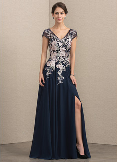 Corte A Decote V Longos Tecido de seda Renda Vestido de festa com Frente aberta