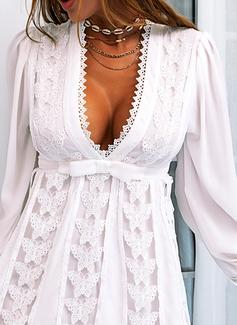 Blonder Solid Skede Lange ærmer Mini Party Sexet Mode kjoler