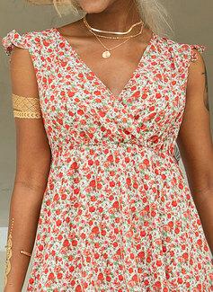 Blumen Druck A-Linien-Kleid Ärmellos Mini Lässige Kleidung Urlaub Skater Modekleider