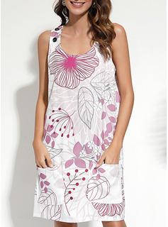 Kwiatowy Nadruk Suknie shift Bez Rękawów Mini Nieformalny Basen Modne Suknie