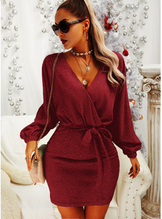 Solid Bodycon Long Sleeves Mini Little Black Elegant Dresses
