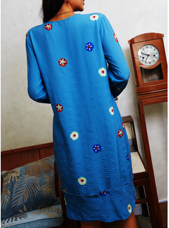 Floral Print Shift Long Sleeves Midi Casual Tunic Dresses