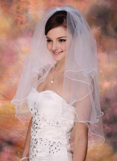 2 couches Voile de mariée longueur coude avec Bord festonné