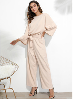 Solid Round Neck 3/4 Sleeves Maxi Dresses