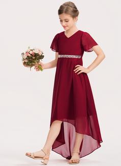 Aライン Vネック 非対称 シフォン ジュニアブライドメイドドレス とともに ビーズ