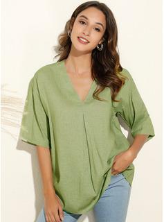 Solid Short Sleeves Polyester V Neck Knit Blouses