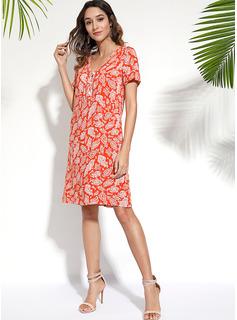 Blomster Print Skiftekjoler Korte ærmer Mini Casual Tunika Mode kjoler