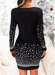 Print Bodycon Lange ærmer Mini Party Mode kjoler