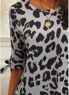 Leopard Shift 1/2 Sleeves Mini Casual Tunic Dresses