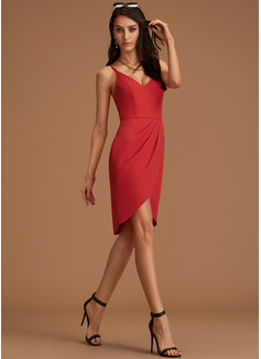 Sheath V-Neck Sleeveless Asymmetrical Back Details Sexy Dresses