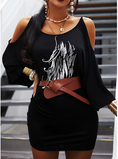 Print Bodycon 3/4 Sleeves Batwing Sleeves Cold Shoulder Sleeve Mini Casual Dresses