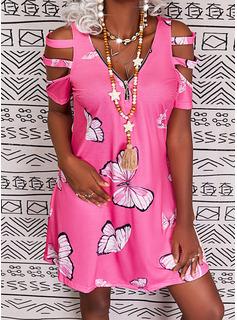 Animal Print Print Shift Short Sleeves Midi Casual Tunic Dresses