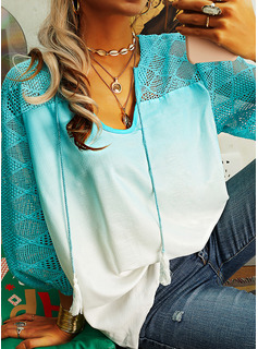 Gradient V-Neck 3/4 Sleeves Casual