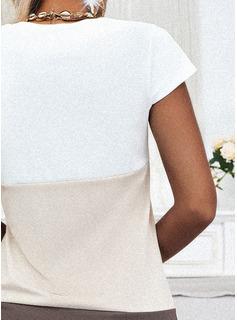 Trozos de color Vestidos sueltos Manga Corta Mini Elegante Vestidos de moda
