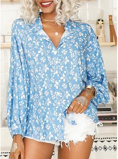 Print Floral Long Sleeves Polyester V Neck Shirt Blouses Blouses