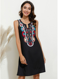 Above Knee V neck Cotton Print Sleeveless Fashion Dresses
