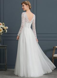 A-Line V-neck Floor-Length Tulle Wedding Dress
