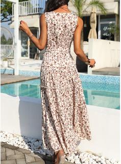 Blomster Print Kjole med A-linje Ærmeløs Maxi Casual Ferie skater Mode kjoler