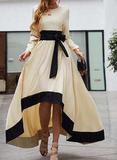 Color Block A-line Long Sleeves Asymmetrical Party Casual Elegant Skater Dresses