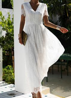 Krajka Pevný Do tvaru A Krátké rukávy Maxi Elegantní Skaterové Módní šaty