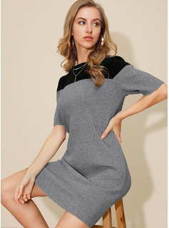 Above Knee Round Neck Viscose Color-block 1/2 Sleeves Fashion Dresses